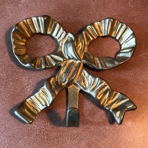 Vintage brass bow hook for wall